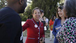 Eleni Kounalakis talks with attendees in Sacramento.