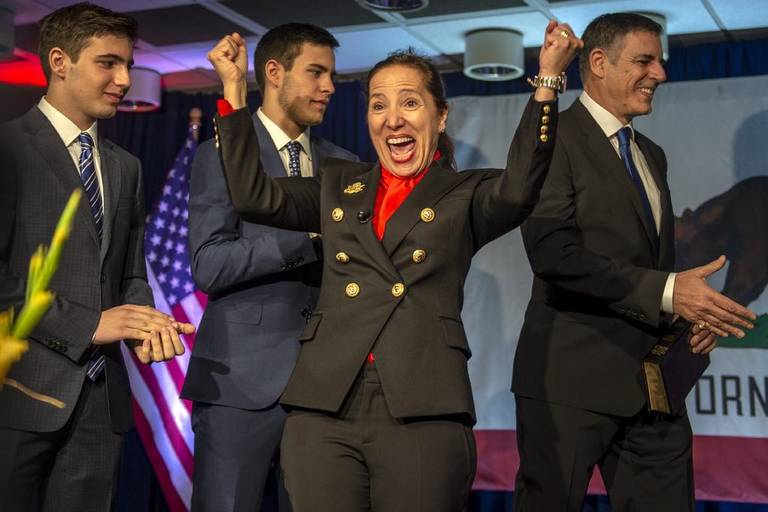 Image of Lt. Governor Eleni Kounalakis speaking at her inauguration on January 7, 2019