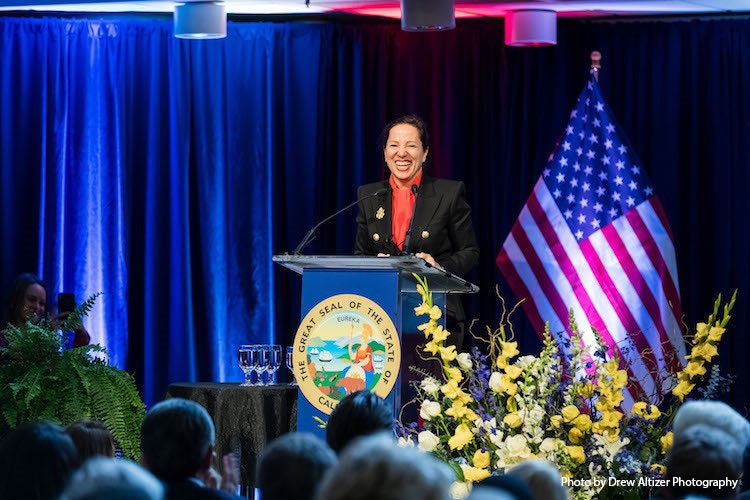 Image of Lt. Governor Kounalakis speaking at her inauguration