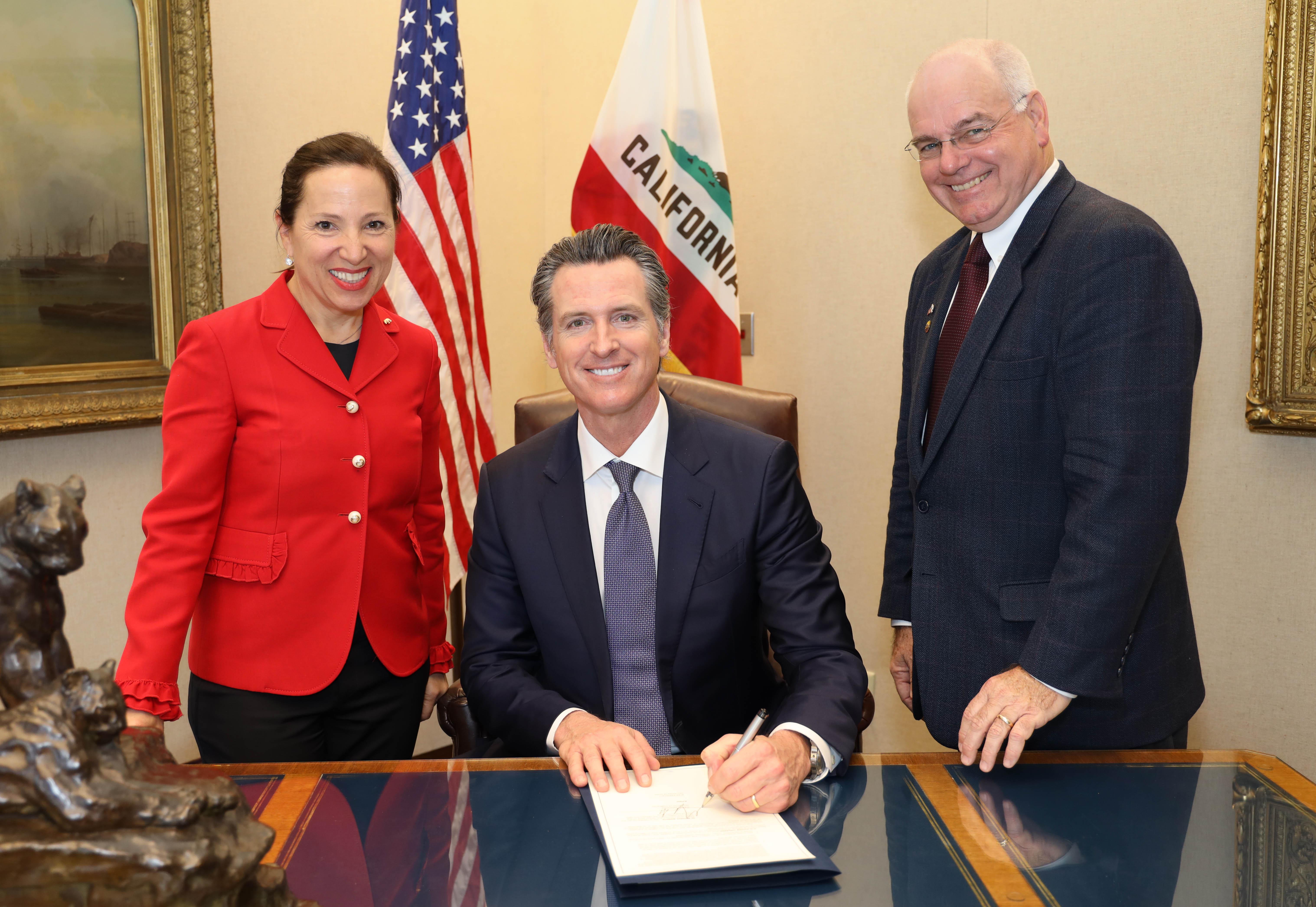 Photo of Lt. Governor Kounalakis, Governor Newsom, and Advisor Mendonca