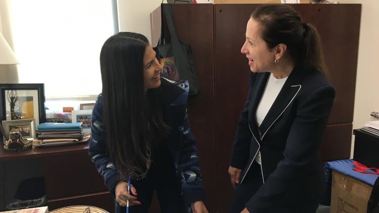 Image of Lt. Governor Kounalakis and American Indian Studies Professor Joely Proudfit