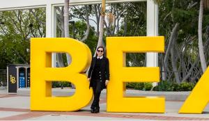 Image of Lt. Governor Eleni Kounalakis on the campus of CSU Long Beach