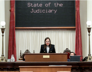 Image of Lt. Governor Kounalakis speaking at the State of Judiciary