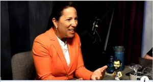 Image Lt. Governor Eleni Kounalakis sitting at the table for the Sactown Talks Podcast