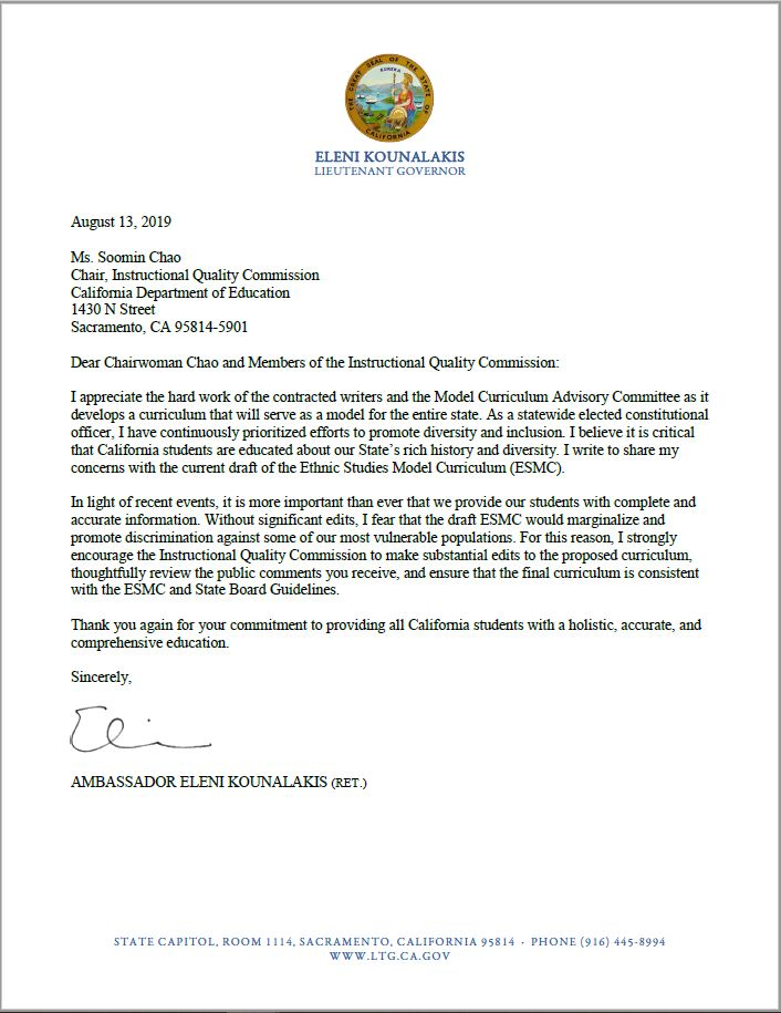 Letter from Lt. Governor Kounalakis to Chair Soomin Chao of the California Department of Education