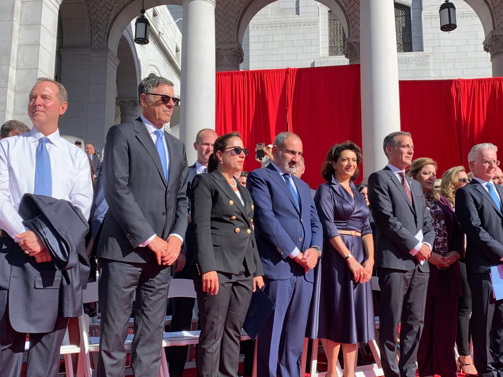 Lt. Governor Kounalakis and her husband stand on the stage with Armenian Prime Minster and other dignitaries